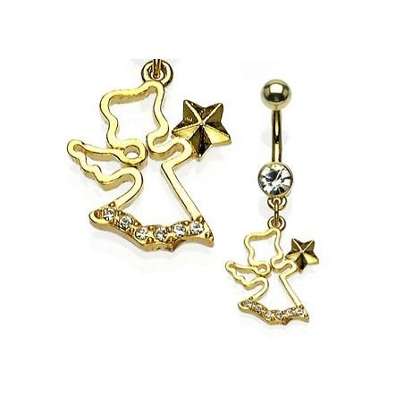 Piercing nombril Plaqué or pendentif Ange