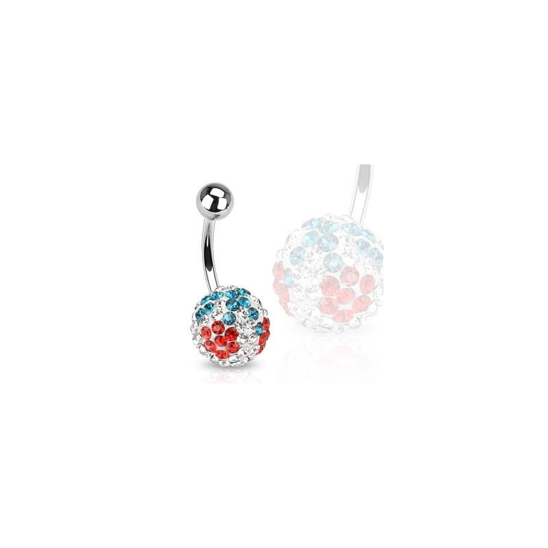 Piercing nombril en cristal autrichien motif cerise avec barre en acier chirurgical 316L