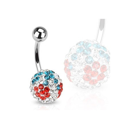 Piercing nombril cristal cerise