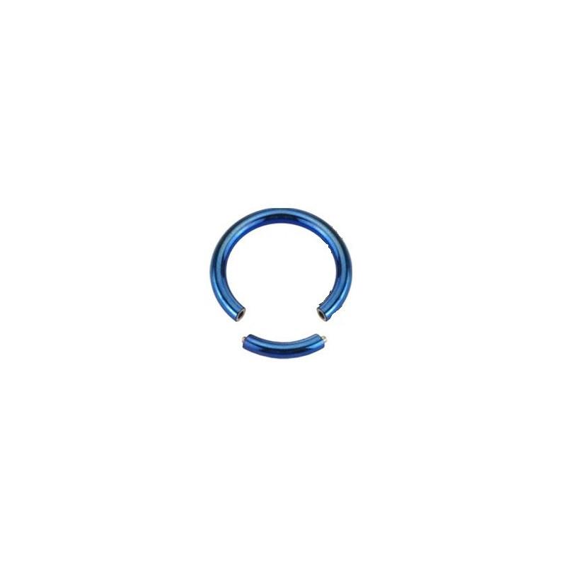 piercing anneau segment 1.2 mm de diamètre en titane couleur bleu titane