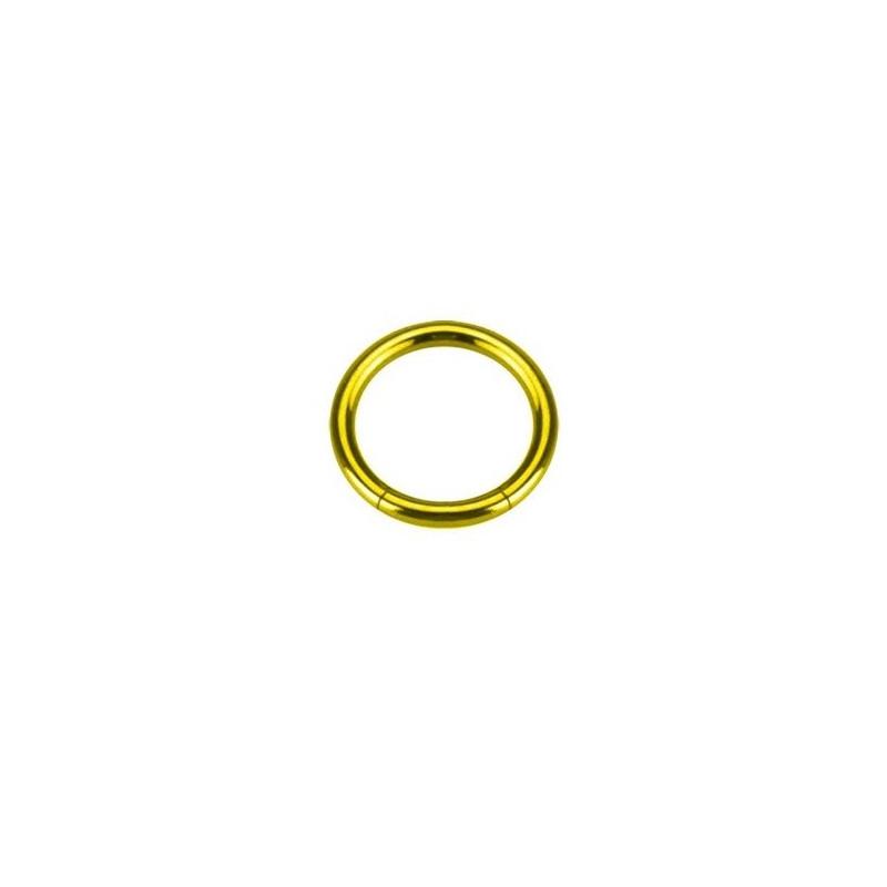 piercing anneau segment 1.2 mm de diamètre en titane couleur or doré titane