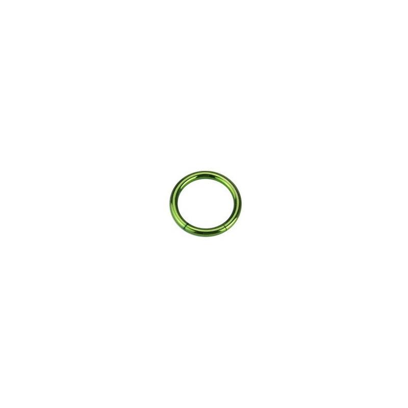 piercing anneau segment 1.2 mm de diamètre en titane couleur vert titane