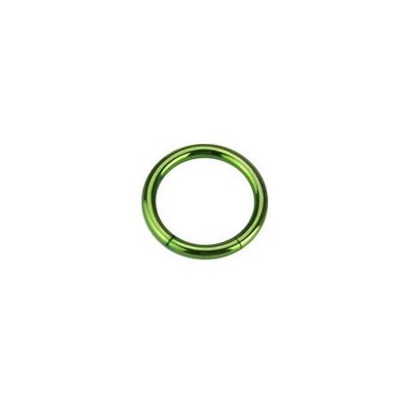 Piercing Anneau 1.2 mm segment en acier couleur vert