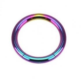 piercing anneau  segment 1.2 mm de diamètre en titane couleur fioul essence arc en ciel