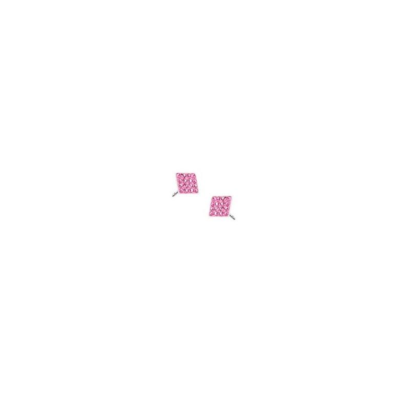 Paires de boucle d'oreille femme carré en acier chirurgical strass de couleur rose