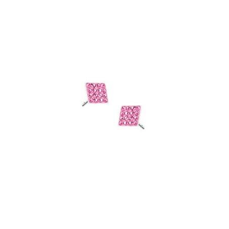 Boucles d'Oreille en acier carré multi cristaux rose