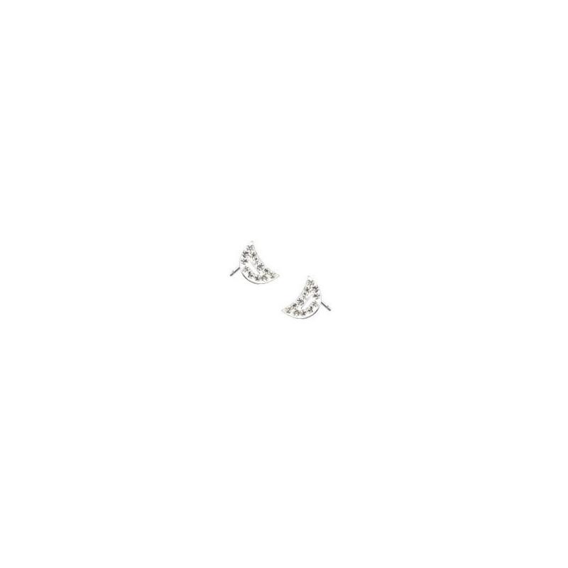 paires de Boucles d'oreille femme motif croissant de lune cristal blanc en acier chirurgical