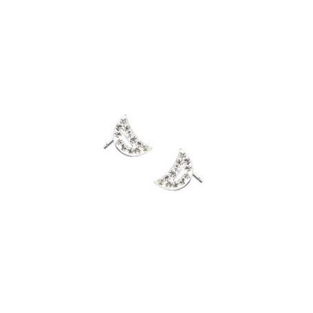 Boucles d'oreille croissant de lune cristal blanc