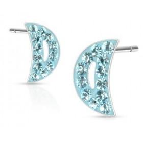 paires de Boucles d'oreille femme motif croissant de lune cristal bleu turquoise en acier chirurgical