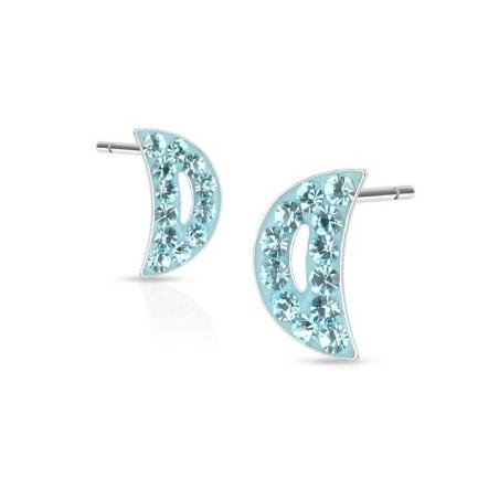 Boucles d'oreille croissant de lune cristal turquoise