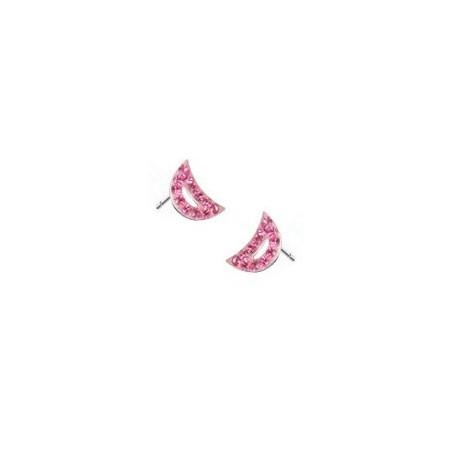 Boucles d'oreille croissant de lune cristal rose