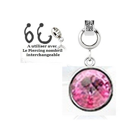 piercing Add-on en cristal de couleur rose