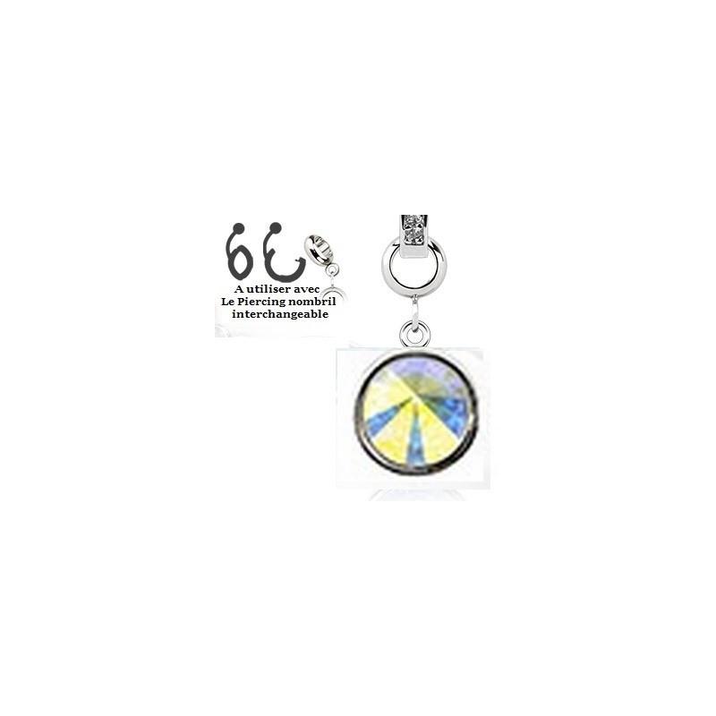 Add-on pour piercing de nombril interchangeable en cristal de couleur blanc irisé