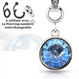 Add-on pour piercing de nombril interchangeable en cristal de couleur bleu turquoise