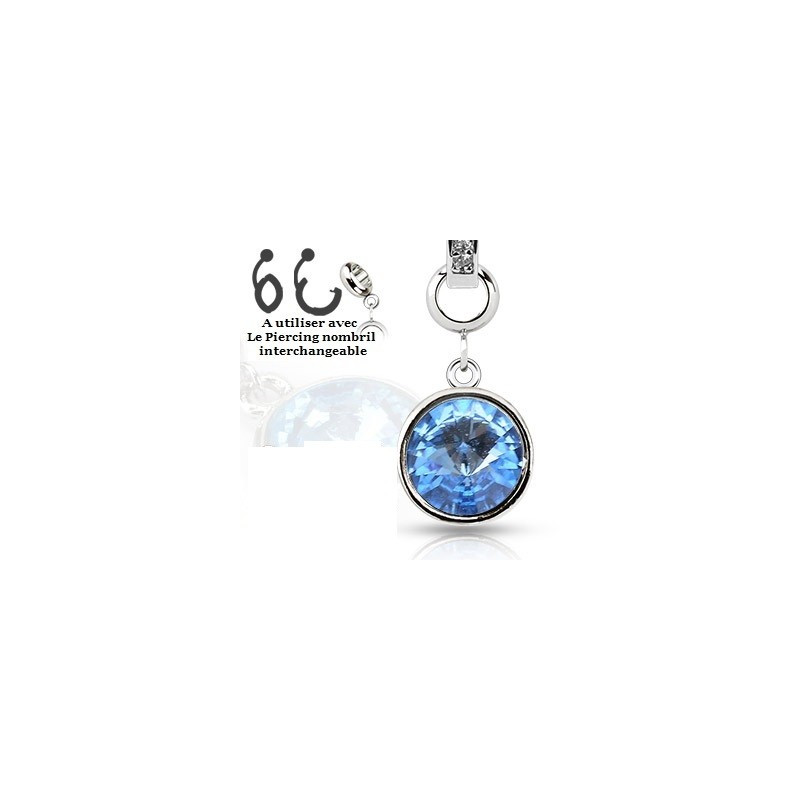 Add-on pour piercing de nombril interchangeable en cristal de couleur bleu turquoise