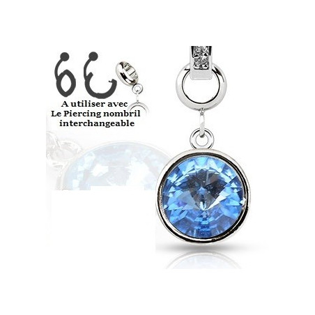 piercing Add-on en cristal de couleur bleu