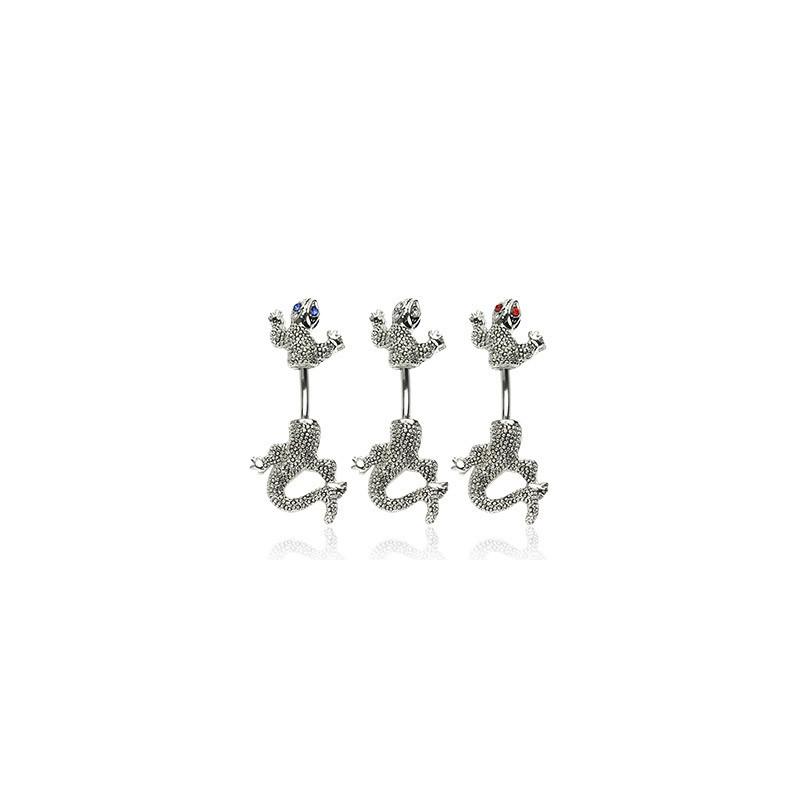 Piercing pour le nombril motif Salamandre double avec oeil cristal