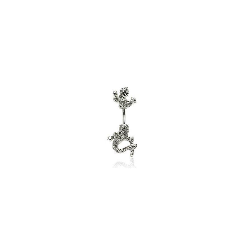 Piercing pour le nombril motif Salamandre double avec oeil cristal blanc