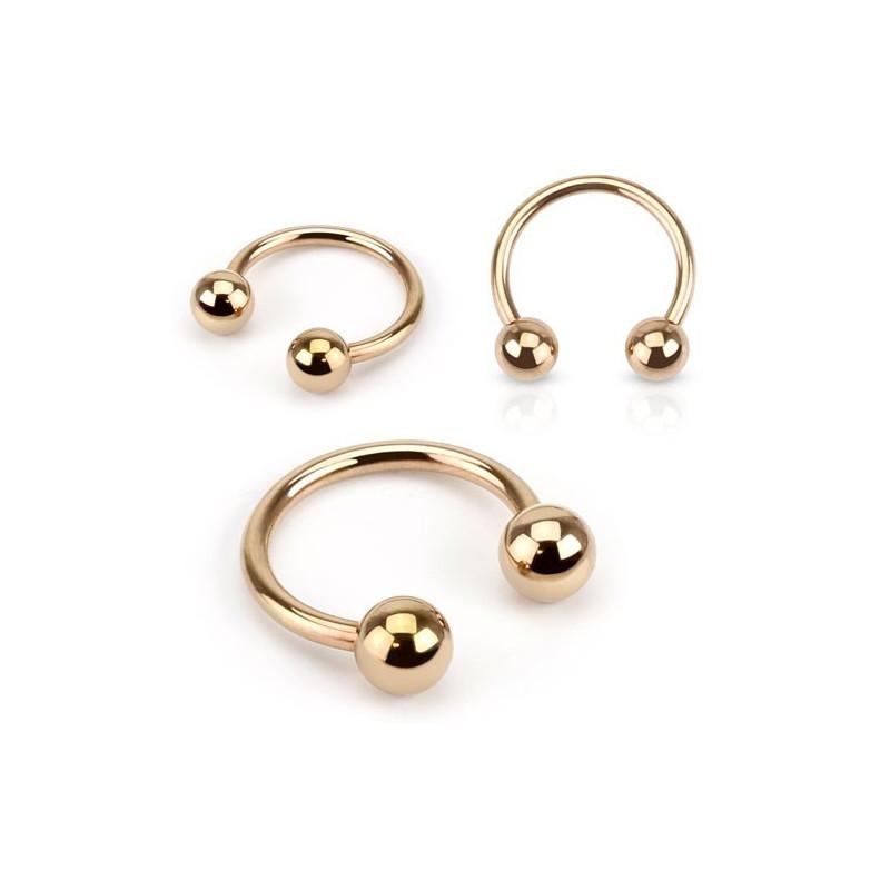 Piercing Fer a cheval 1.6mm Or Rose en acier chirurgical pour piercing nombril, piercing tétton et piercing intime