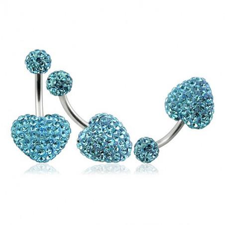 Piercing nombril coeur cristal turquoise