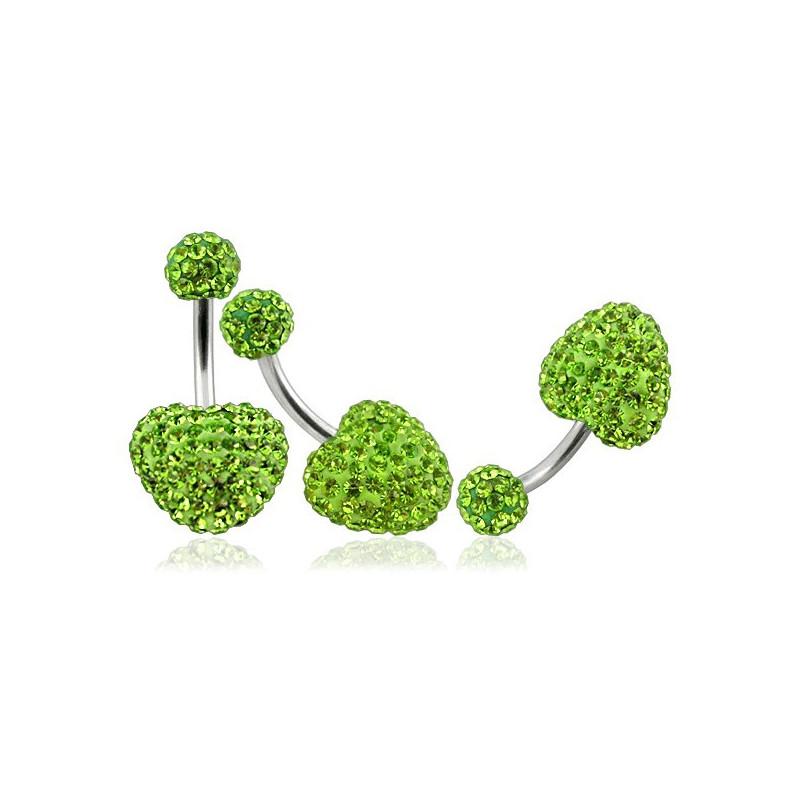 Piercing nombril barre en titane motif coeur en cristal de swarovski couleur vert