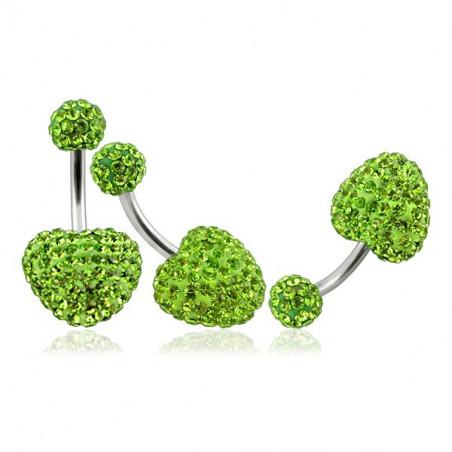 Piercing nombril coeur cristal vert