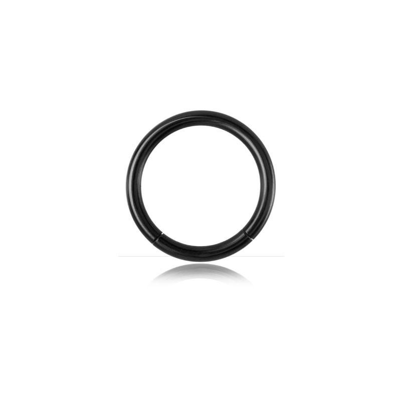 Piercing Anneau segment gros diamètre pour prince albert en acier chirurgical de couleur noit