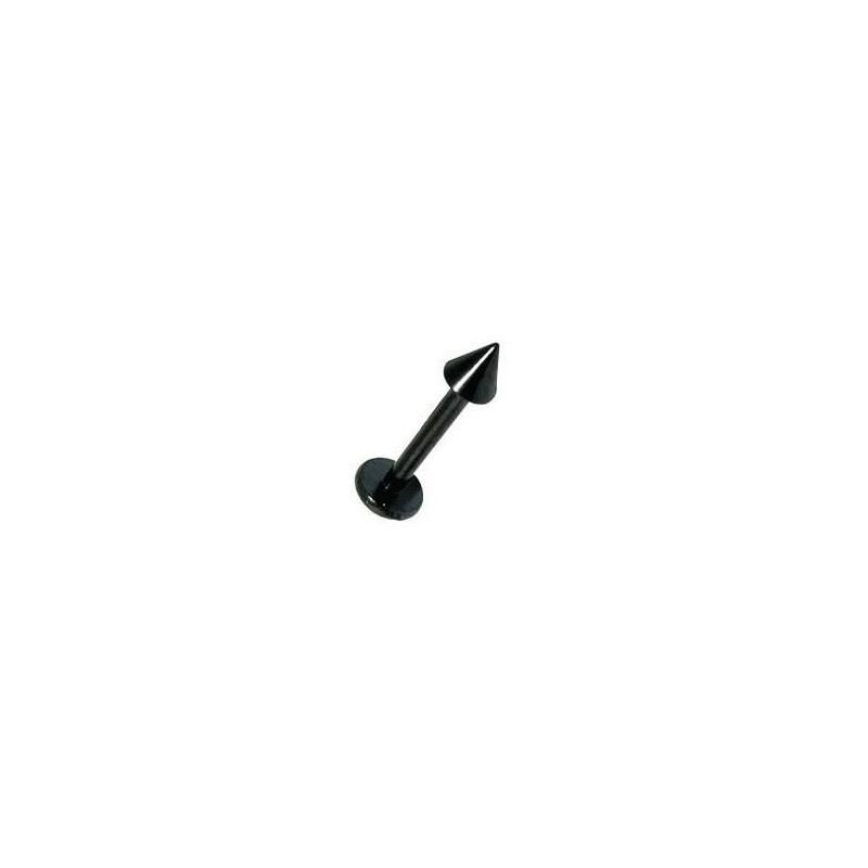 Piercing labret en titane anodisé de qualité motif pointe spike de 3 mm couleur acier noir pas cher
