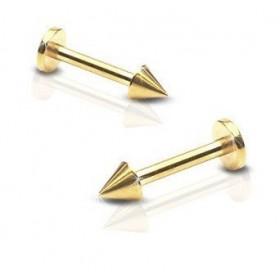 Piercing labret en titane anodisé doré de qualité motif pointe spike de 3 mm couleur or pas cher
