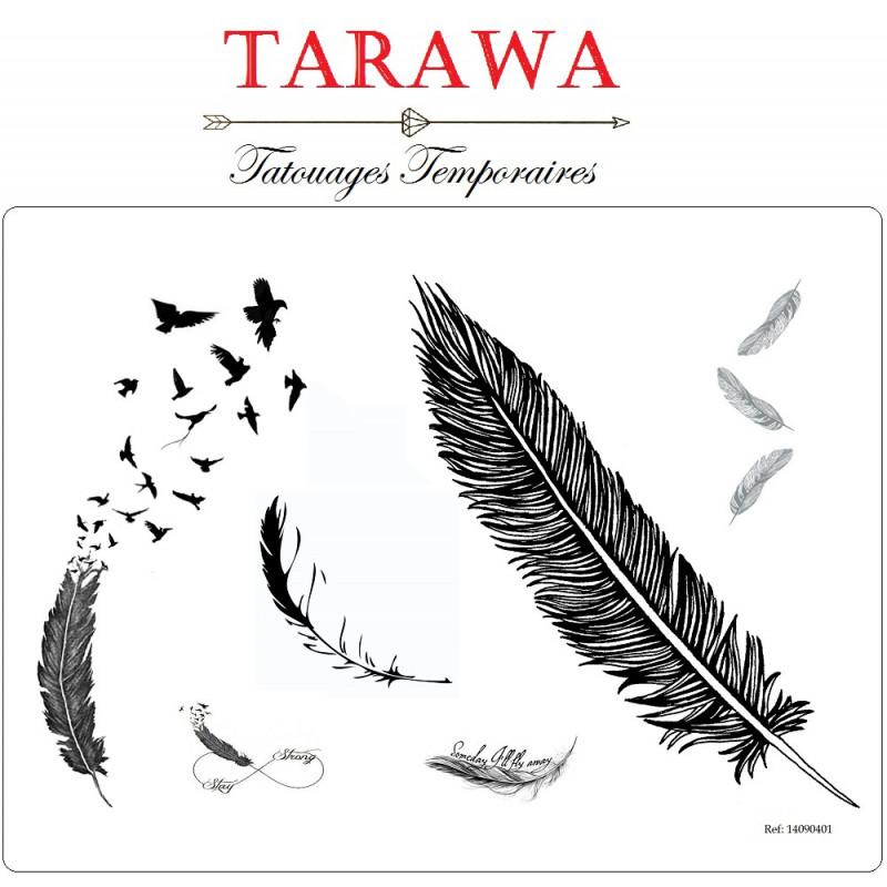 Tatouage temporaire plume noir et blanc tettoo ephemere motif plume