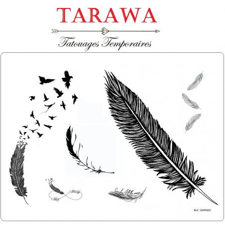 Tatouage temporaire plume noir et blanc