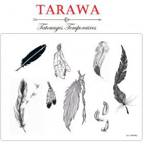 Tatouage temporaire 8 plume noir et blanc motif de tatouage plume de la marque tarawa