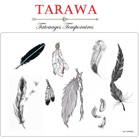 Tatouage temporaire 8 plume noir et blanc