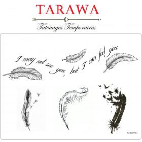 Tatouage temporaire 4 plume tattoo temporaire plume avec phrase de la matque tarawa