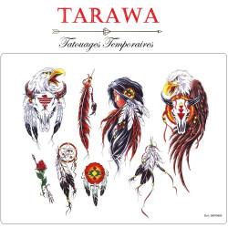 Planche tatouage temporaire plume indien attrape rêve