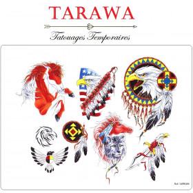 Planche tatouage temporaire aigle indien cheveau plume et attrape rêve indien
