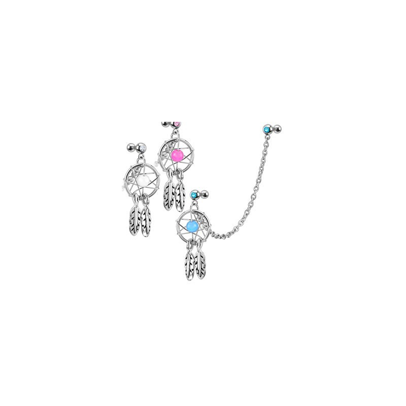 Double Piercing Oreille pour piercing tragus et piercing hélix cartilage oreille motif chaine attrape rêve