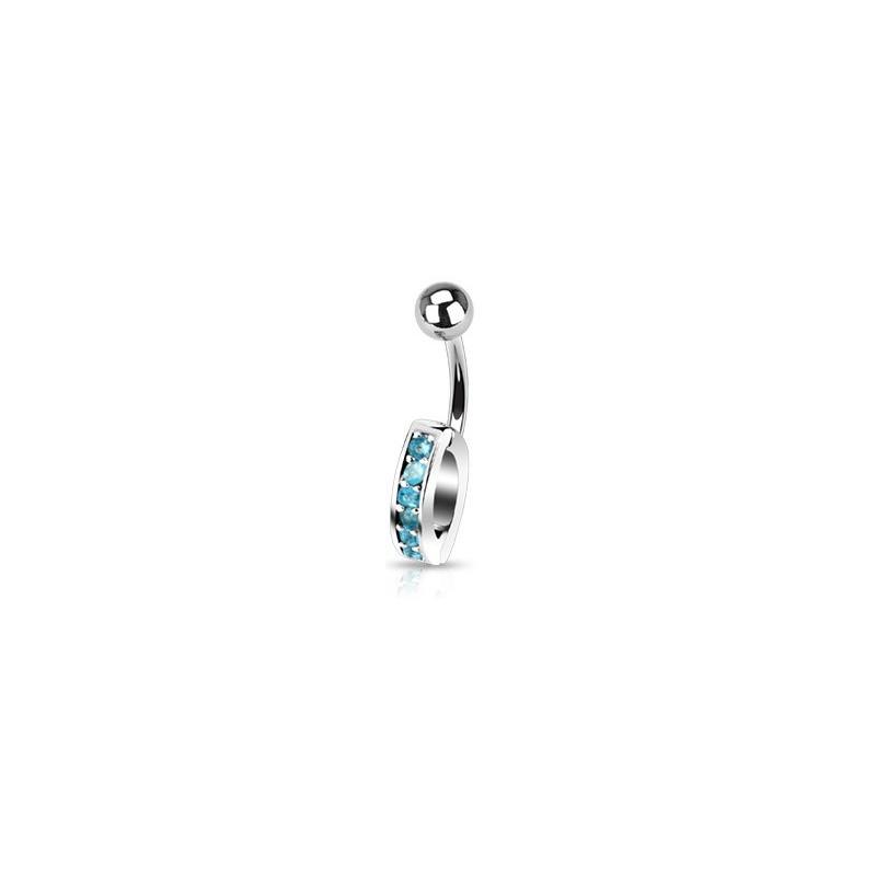 Piercing Nombril interchangeable en acier chirurgical avec cristal de couleur bleu turquoise