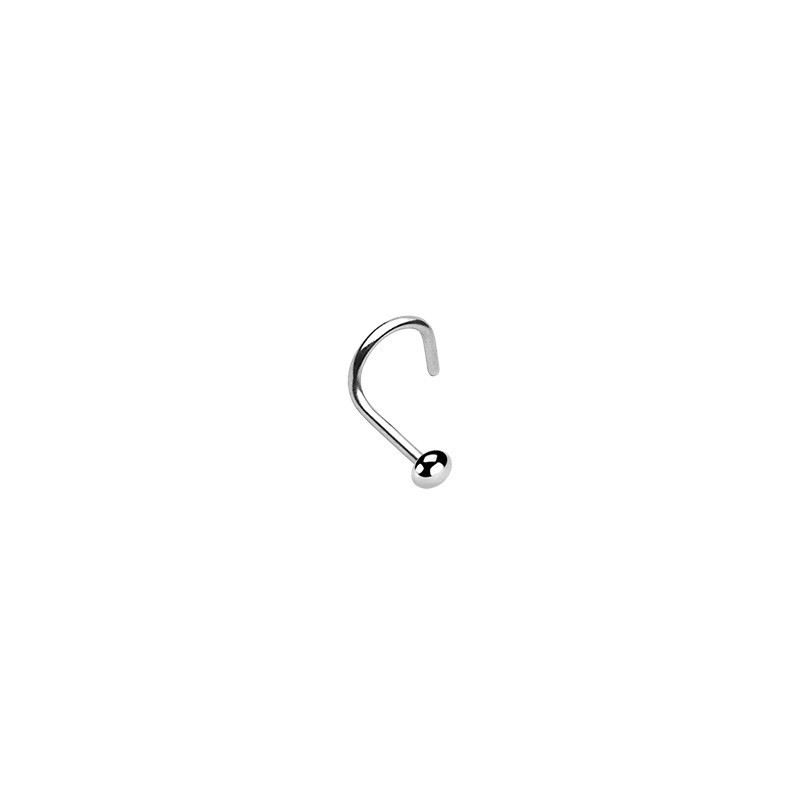 Piercing de nez courbé motif demi-bille 2mm en acier chirurgical