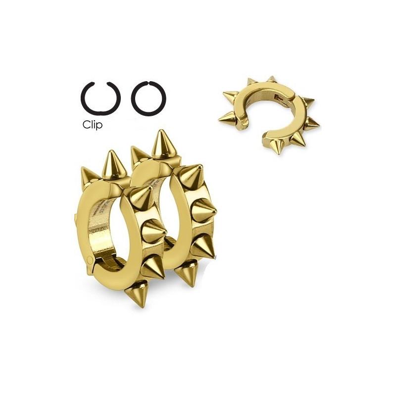 paires de fausse boucles d'oreille à clip en acier chirurgical motif pointe hard rock couleur doré