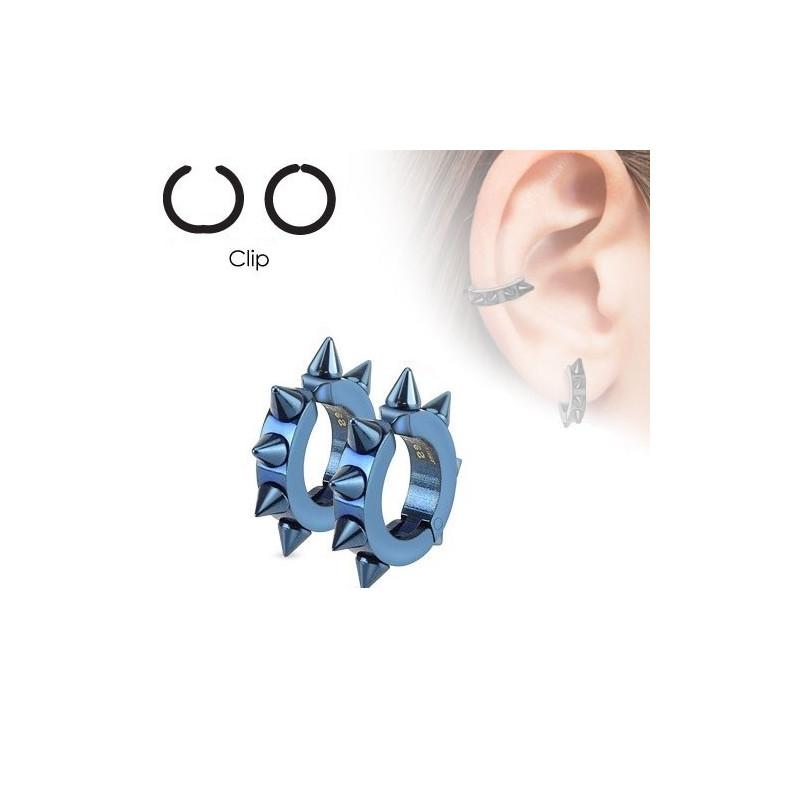 paires de fausse boucles d'oreille à clip en acier chirurgical motif pointe hard rock couleur bleu