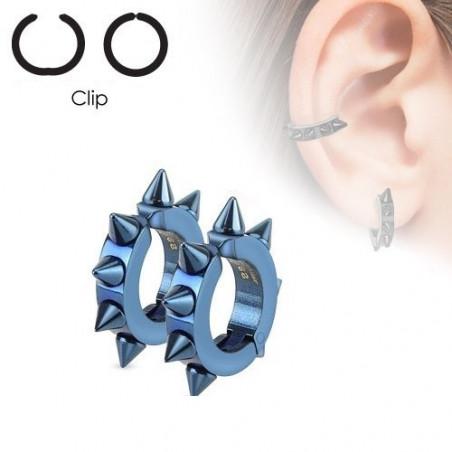 Paire de fausse boucles d'Oreille acier spike couleur bleu