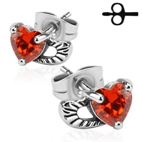Boucle d'oreille Aile d'Ange avec Coeur rouge