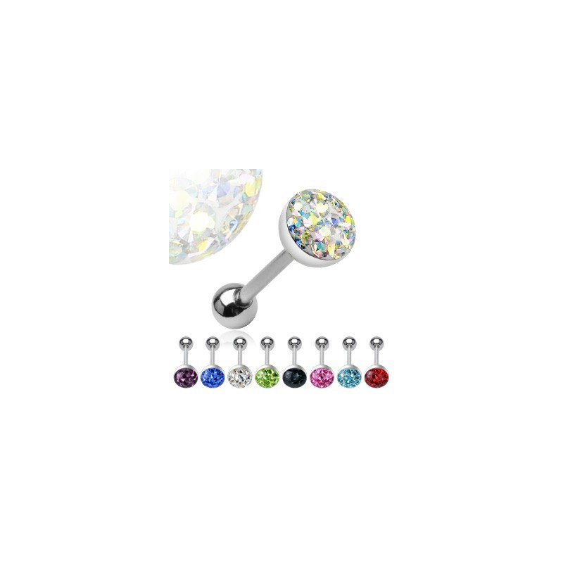 Piercing langue en acier chirurgical motif Cristal autrichien en acier chirurgical