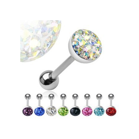 Piercing langue Cristal autrichien bille 8mm