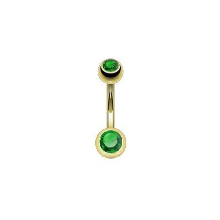 Piercing nombril en plaqué Or bille 4mm et 6mm cristal vert