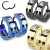 paire de Boucles d'Oreille anneau en Acier noir motif Croix et cristal