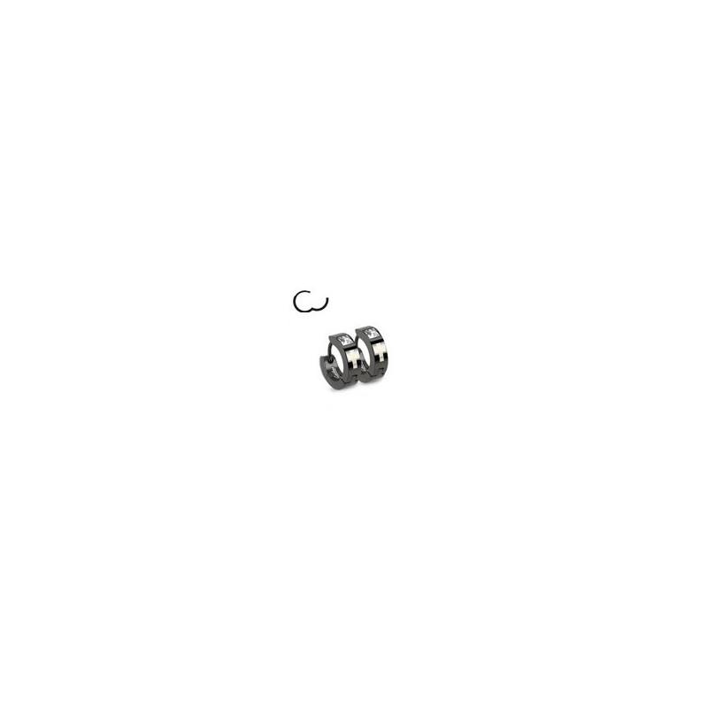 paire de Boucles d Oreille anneau pour homme en Acier noir motif Croix et cristal