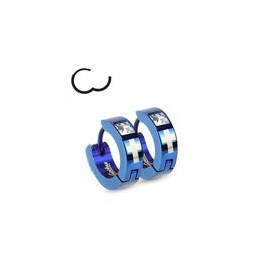 paire de Boucles d Oreille anneau pour homme en Acier couleur bleu motif Croix et cristal