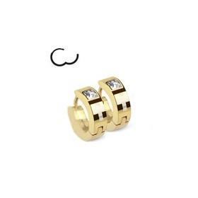 paire de Boucles d Oreille anneau pour homme en Acier couleur doré motif Croix et cristal